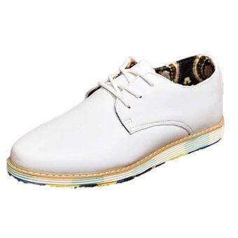 แฟชั่นรองเท้าหนังผู้ชายสันทนาการแบนไซส์พิเศษธุรกิจรองเท้าผู้ชายรองเท้า (ขาว)