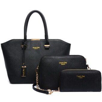 Richcoco (26) กระเป๋าถือผู้หญิง + กระเป๋าสะพายข้าง + กระเป๋าสตางค์ เซ็ต 3 ใบ (สีดำ)