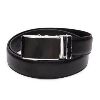 Marino Belt เข็มขัดผู้ชาย เข็มขัดหนังแท้สีดำ หัว Auto รุ่น AT402 - Black