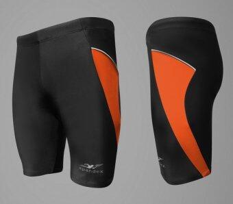 Spandex กางเกงว่ายน้ำขาสามส่วน SW002 (สีดำ/แถบส้ม)