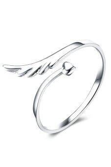 Fancyqube 925 สเตอร์ลิงเงินแหวนนิ้วนางเปิดมุมปีกเล็กปรับได้