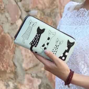 ลาวีแมวการ์ตูนสร้างสรรค์กระเป๋าสตางค์ที่เก็บบัตรประชาชนแบบธรรมดาสตรีไปรษณีย์คลัตช์ (สีเขียว)