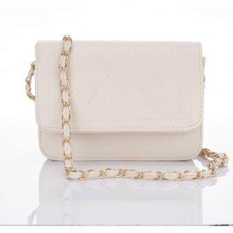 Premium Bag กระเป๋าแฟชั่น กระเป๋าสะพายข้าง รุ่น PB-002 (สีครีม)
