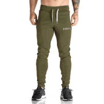 ASRV Men's Casual กางเกงฟิตเนส (สีเขียวขี้ม้า)