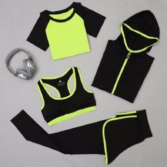 Dolly Set ชุดออกกำลังกาย4 ชิ้น เสื้อแขนสั้น(792) +บรา(802) +กางเกงขายาว(9004) +เสื้อคลุม(278) สีเขียว