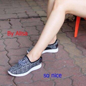 Alisa Shoes รองเท้าผ้าใบแฟชั่น รุ่น 99Q002 Black White