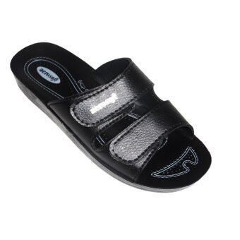 aerosoft รองเท้าแตะผู้หญิง PU นุ่มสบาย A2103 สีดำ