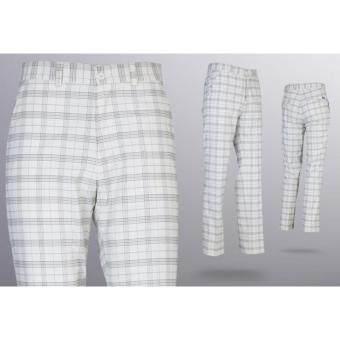 EXCEED กางเกงกอล์ฟผู้ชายขายาว #24 ลายตารางสีขาว (KUZ003) PGM Men's Golf PANTS Gentleman Plaid Quick Dry Sport Trousers Summer Breathable Short XXS-3XL WHITE COLOUR