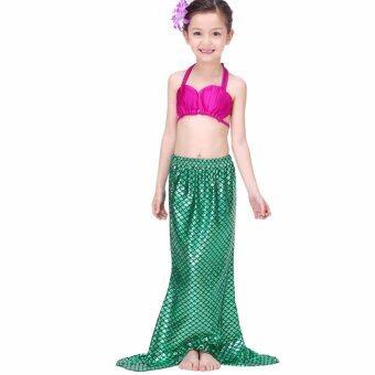 Mermaid Swiming Children Bikini Set ชุดนางเงือก เซ็ท 3 ชิ้น รุ่น Pink-Green (สีชมพู-เขียว)