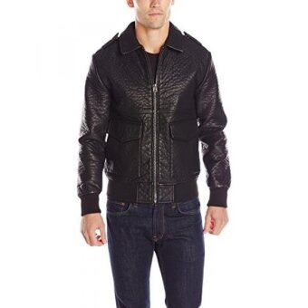 Harga French Connection Mens Mad Max Faux Leather Jacket, Black,