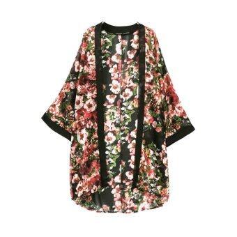 ผู้หญิงแนวหน้าแฟชั่นเสื้อตัวนอกยาวพิมพ์ลายค้างคาวเปิดแขนเสื้อสเวตเตอร์ถักหลวม ๆ วินเทจเสื้อนอกสีดำ