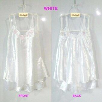 Phasarin ชุดนอนผ้าซาติน เสื้อสายเดี่ยว+กางเกงขาสั้น / สีขาว