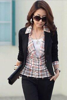 Cyber Women Slim Casual Short Blazer Suit Jacket Coat OutwearBlack