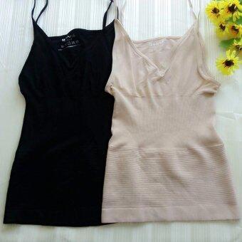 MUNAFIE slimming vest เสื้อกระชับสัดส่วน เก็บส่วนเกิน (สีดำ+สีเนื้อ) - 2 ตัว