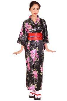 Princess of asia กิโมโนยาวลายดอกไม้ผู้หญิง (สีดำ)