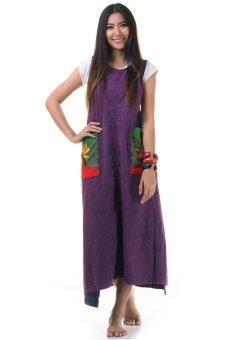 Princess of Asia ชุดเดรสยาวผูกเอว เดรสผ้าฝ้ายปะดอกไม้ (สีม่วง)
