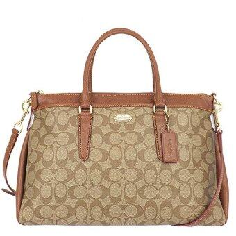 Harga COACH กระเป๋า MORGAN SATCHEL IN SIGNATURE F34617 IMBDX (Khaki/Saddle)