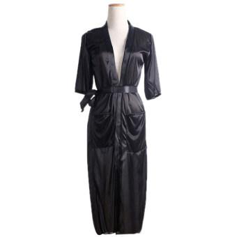 ผ้าผู้หญิงแบบ Kimono คลุมทับเสื้อคลุมชั้นในไว้ไม่ให้สีดำ