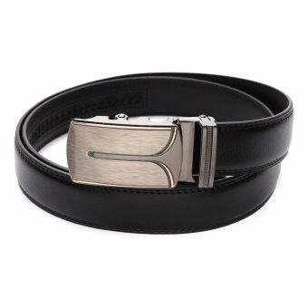 Marino Belt เข็มขัดผู้ชาย เข็มขัดหนังแท้สีดำ หัว Auto รุ่น AT403 - Black