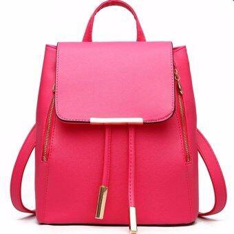 meet 3 in 1 Women Bag Top Handle Bag Women Backpack กระเป๋าสะพายไหล่ กระเป๋าเป้สะพายหลัง -Red