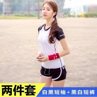 Harga T-shirt + Tighting Shorts Gym Yoga Suit Fitness Sports Running 2 Pcs Pack Set - intl