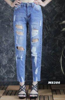 Platinum Fashion กางเกงยีนส์ขายาวเอวสูง ทรงบอย แต่งขาด รุ่นMS386