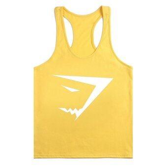 เสื้อบุรุษผ้าเสื้อกล้ามห้องออกกำลังกายพร้อมอุปกรณ์ออกกำลังกายเพาะกายสายแร่น้ำ gymshark กีฬาเสื้อยืดสีเหลืองกับขาวตรา