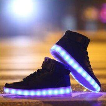 D56 แฟชั่นผู้ชายผู้หญิงเป็นภูสูงเสื้อสีดำหนารองเท้าลำลองสำหรับบุรุษคู่รัก 7 สีไฟ led ใน 1