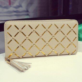Open กระเป๋าสตางค์แบบรูดซิบ ปักกระดุมคาดสีทอง(สีครีม)รุ่น1777