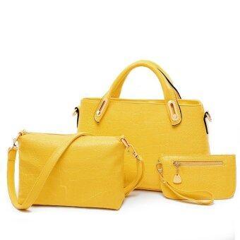 Richcoco SET กระเป๋าแฟชั่นเกาหลี + กระเป๋าถือผู้หญิง + กระเป๋าสะพายข้าง + เซ็ต 3 ใบ (สีเหลือง)