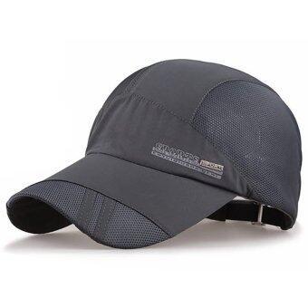 ผู้หญิงธรรมดาคนหมวกเบสบอลฮิพฮอพหน้ากากหมวกตาข่ายตะ Snapback ปรับได้ (ลึกสีเทา)