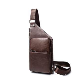 stmartshop กระเป๋าคาดอกหนังใหม่ Travel Shoulder Bag รุ่ง stm6201 (สีน้ำตาล)