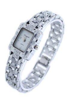 Bluelans หุบเขาผีเสื้อผู้หญิงเงินเจือคล้ายคลึงนาฬิกาข้อมือขาว