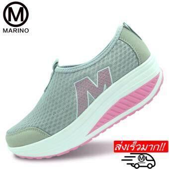 Marino รองเท้าผ้าใบสีดำ รองเท้าเพิ่มความสูงสำหรับผู้หญิง No.A010 - Gray