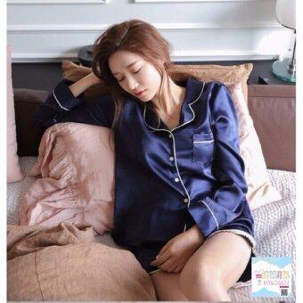 ชุดนอนผ้าซาติน ทรงเชิ้ต เสื้อแขนยาว+กางเกงขาสั้น - SA 506