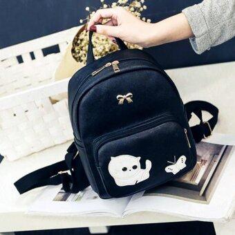 Little Bag กระเป๋าเป้สะพายหลัง กระเป๋าเป้เกาหลี กระเป๋าสะพายหลังผู้หญิง backpack women รุ่น LP-107 (สีดำ)