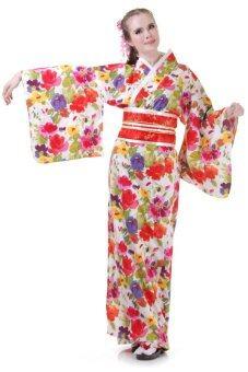 Princess of asia กิโมโนยาวลายดอกไม้ผู้หญิง (สีแดง)