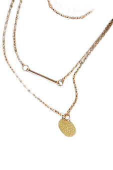จี้สาว Fancyqube 3Layers ทองสร้อยคอสร้อยคอโซ่กล่าวชื่นชมของขวัญสวยเสน่ห์ทอง