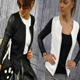 ผู้หญิงแฟชั่นใหม่ใส่เสื้อสูทซิปเสื้อนอกสาวน้อยธรรมดาเสื้อแจ็คเก็ต (สี: ขาว)