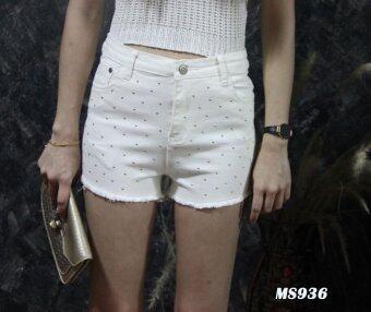 Platinum Fashion กางเกงยีนส์ขาสั้นเอวสูง แต่งขาดปลาย รุ่นMS936