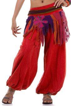 Princess of asia กางเกงแม้ว กางเกงผ้าต่อ ฮิปปี้ โบฮีเมียน (สีแดง)
