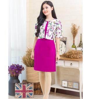 Pitchaya ชุดเดรสตัวเสื้อเย็บแบบกั๊กผ้าไหมเนื้อเงาสวยหรูลายดอกไม้แขนศอก  de551(สีม่วงออร์คิด)