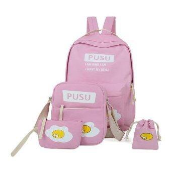 Students bags กระเป๋าสะพายข้าง กระเป๋าเป้สะพายหลัง 4 ใบ Backpack Set 4 pcs - Pink