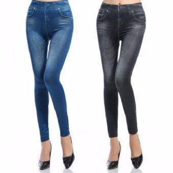 legging Jean เลกกิ้ง ลายยีนส์ กระชับ fit เบา สบาย ขายคู่ 2 สี ดำ น้ำเงิน free size