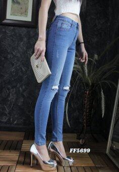 Platinum Fashion กางเกงยีนส์ขายาวเอวสูง ทรงสกินนี่ แต่งขาด รุ่นFF5699
