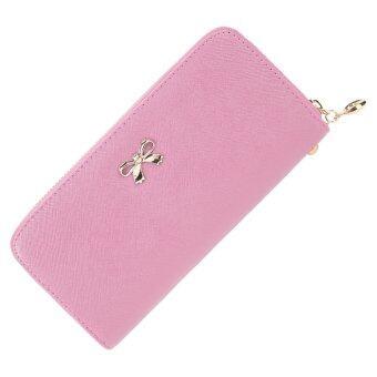 ผู้หญิงรอบแฟชั่นซิปกระเป๋าสตางค์แบบแข็งคลัตช์ (สีชมพู)
