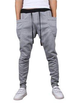 ชายร่างใหญ่ใส่กางเกงหูรูดด้านวิ่ง (สีเทา)