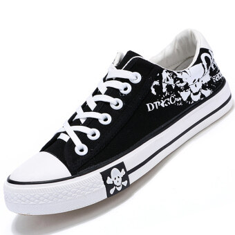 PINSV รองเท้าผ้าใบรองเท้าผ้าใบเล่นคนเล่นสเก็ต (สีดำ)