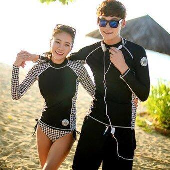 [หญิง] ชุดว่ายน้ำคู่รัก แขนยาว Black Wave Rashguard ไซต์ M-XL # 8602