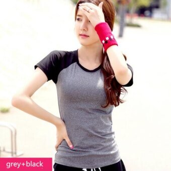 Harga Women T-shirt Quick-drying Short-sleeved Breathable Fitness Clothing Sport Shirt Grey+Black - intl